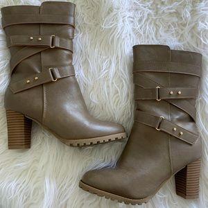 Generation Y strappy block heel mid calf boots